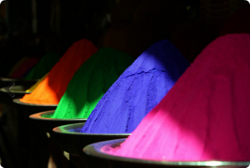 A picture of brightly, colored chalk piles from India.