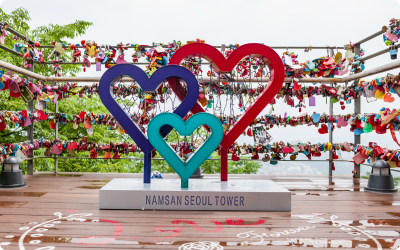 A picture of the colorful Namsan Seoul Tower taken by an adoptee while touring South Korea.